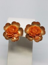 Faux Coral Rose in Gold tone Earrings Vintage Screw On - $14.39