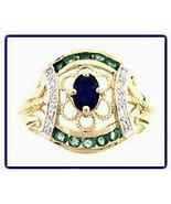 14 kt Gold Sapphire, Emerald and Diamond Cocktail Ring - $285.00
