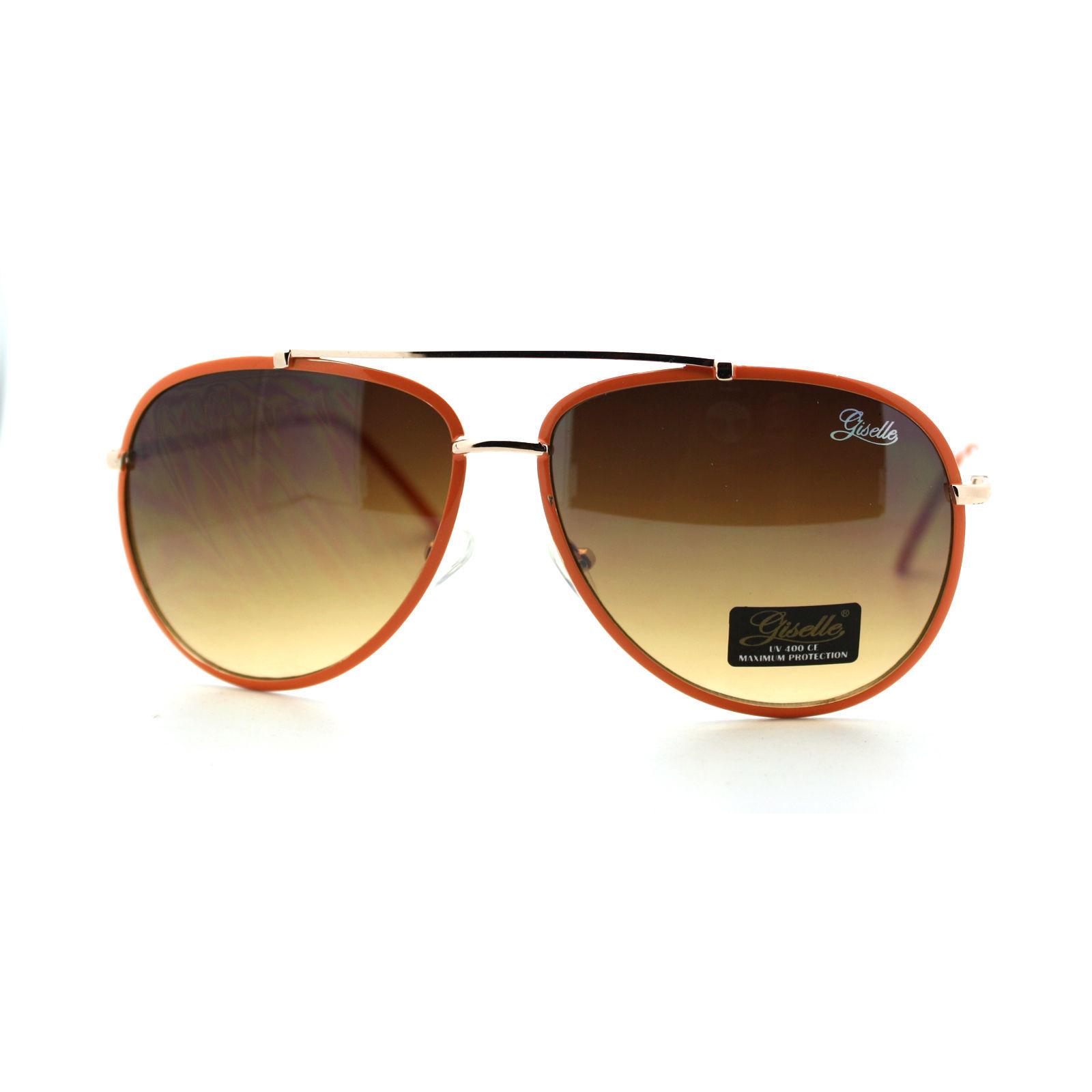 Giselle Lunettes Womens Aviator Sunglasses Top Bar Metal Frame