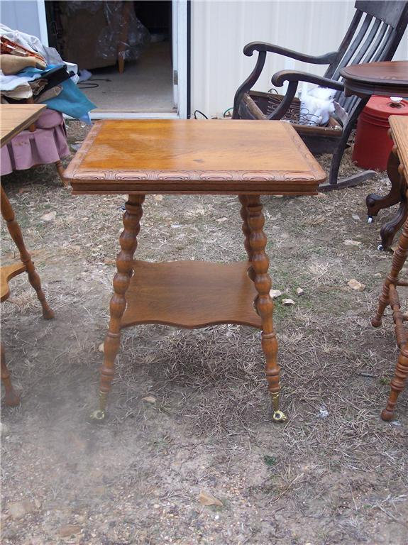 Primary image for Carved Quartersawn Oak Turned Leg Parlor Table Center Table with brass feet