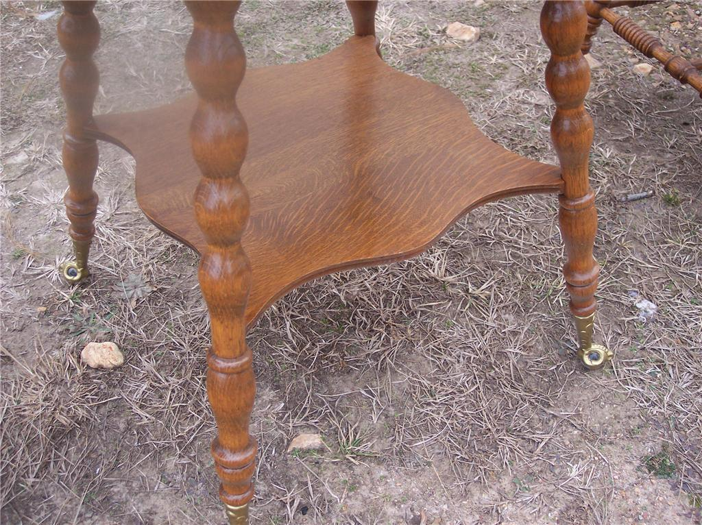 Carved Quartersawn Oak Turned Leg Parlor Table Center Table with brass feet