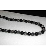 A-46 Fossil Jasper and Black Jade Necklace - $15.00