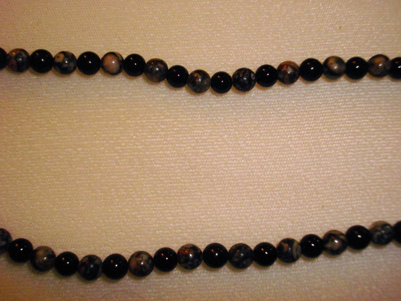A-46 Fossil Jasper and Black Jade Necklace
