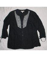 JM COLLECTION black 100% LINEN 3/4 sleeve Embroidered ButtonTop sz 10  EUC - $8.99