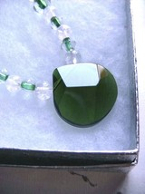 Crystal Quartz, Clear and Green Beads with Green Glass Pendant - $12.00