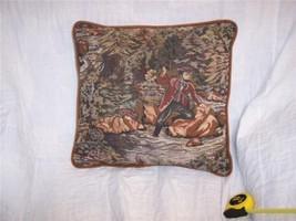 Fisherman Print Pillow/Decorative Pillow brown velvet back 16 x 16 - $15.90