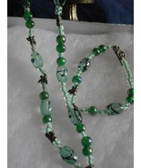 B-28   Green Glass Bead Necklace and Bracelet Set - $10.00