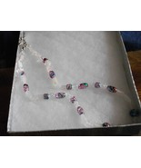 Rose Quartz, Crystal Quartz and Multi Glass Bead Necklace - $10.00