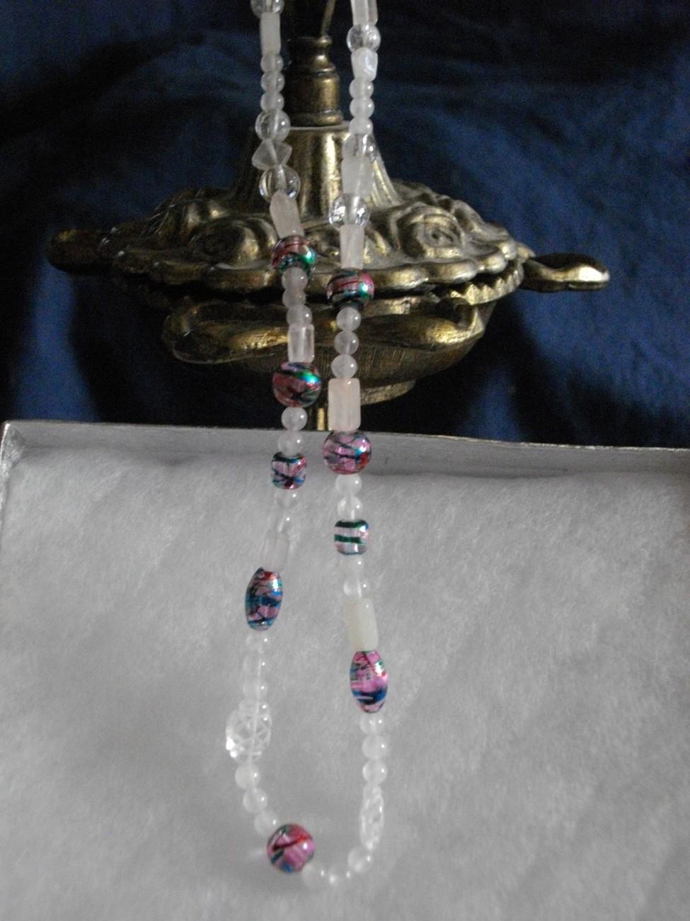 Rose Quartz, Crystal Quartz and Multi Glass Bead Necklace