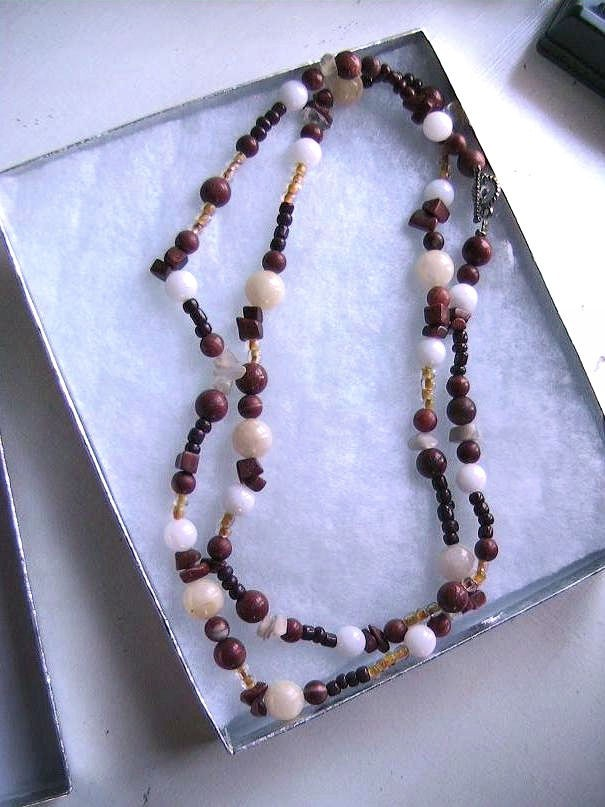 Red Agate, Snow Quartz, Goldstone,and Fossil Stone Necklace