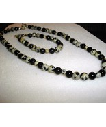 A-34   Dalmation Jasper and Black Jade Necklace and Bracelet - $20.00