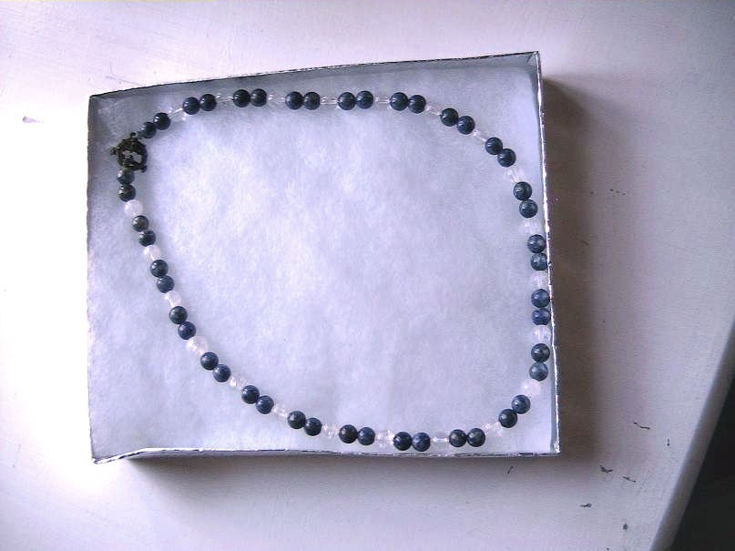 A-2    Blue Lapis Lazuli and Clear Quartz Necklace