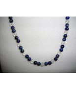 A-2    Blue Lapis Lazuli and Clear Quartz Necklace - $20.00