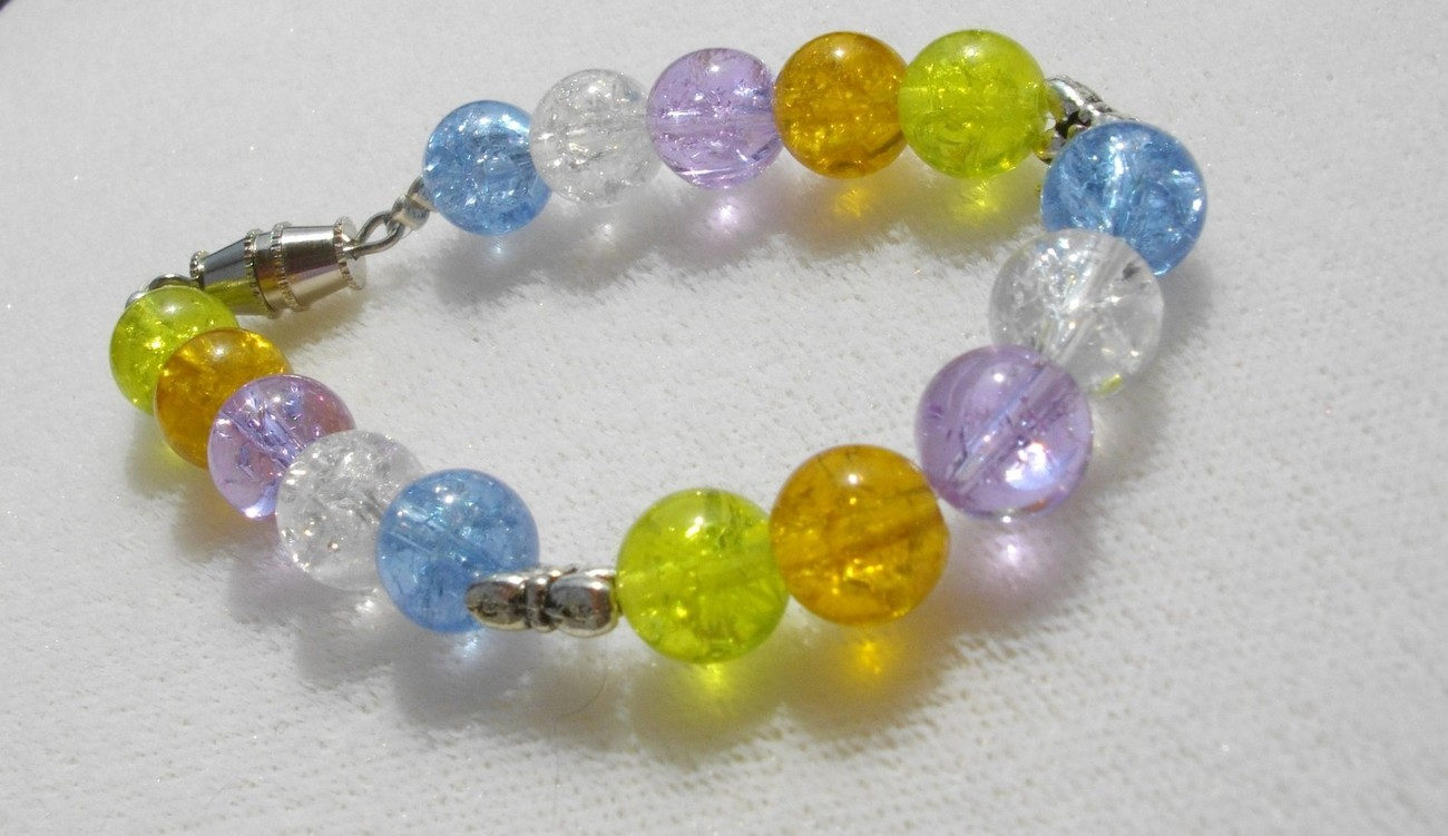 SALE Girls' Multicolor Crackled Glass Bead and Dragonfly Bracelet