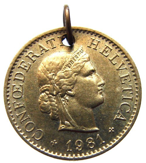 Primary image for SWISS COIN CHARM 30 Years Old 1981 Liberty Switzerland 5 Rappen Coin Charm Penda