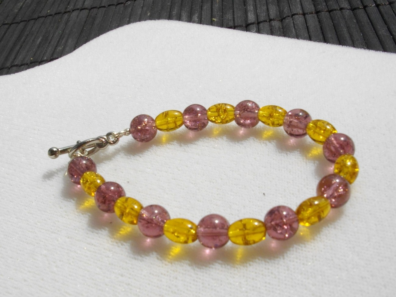 "SALE Girls' ""Grapes and Honey""  Purple and Honey Crackle Bracelet"