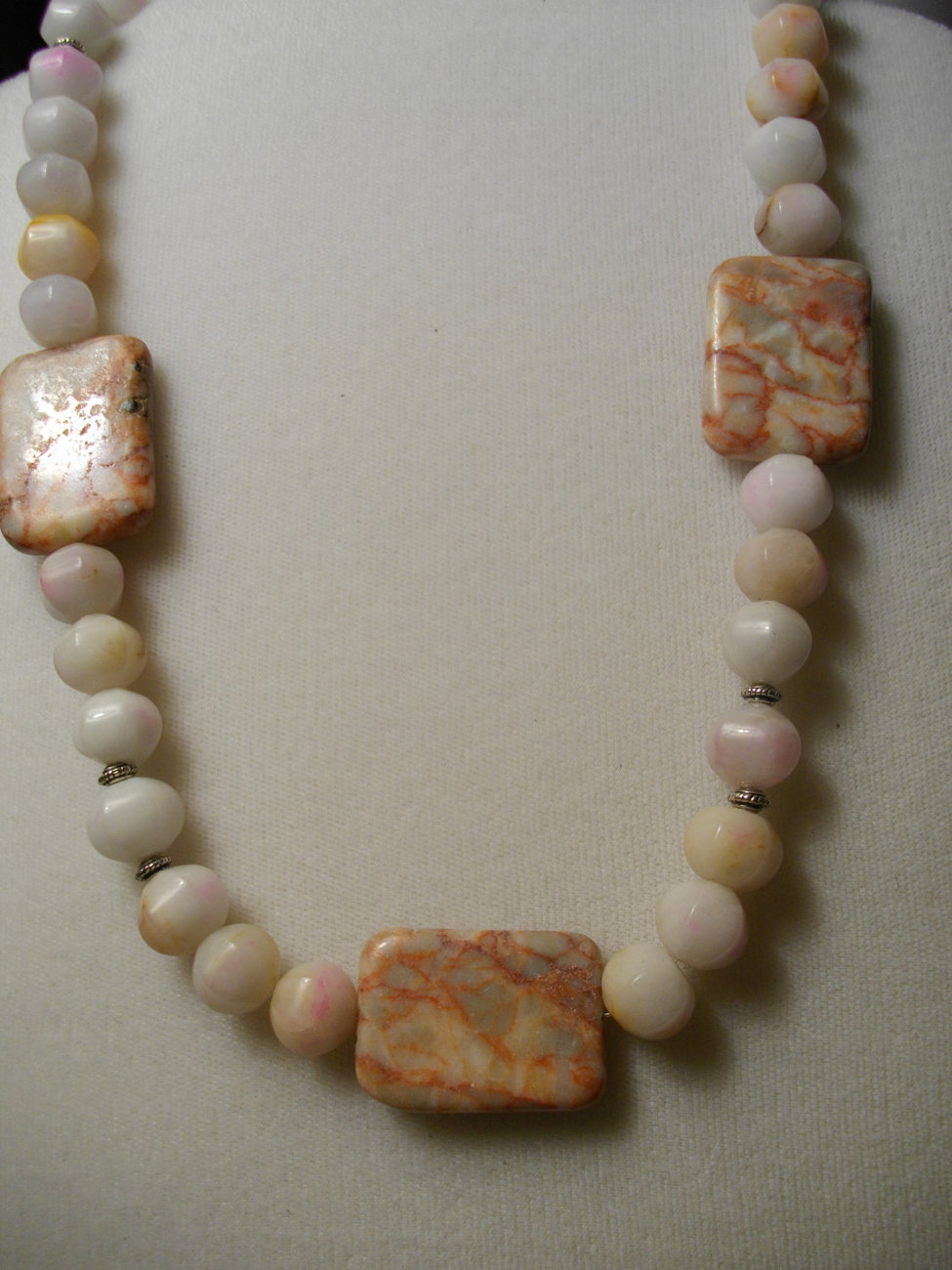 C-42    Snow Quartz and Red Line Marble Necklace