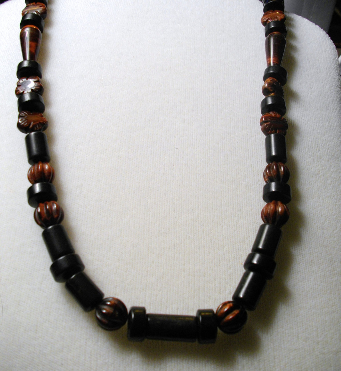 A-104    Red Tigereye and Black Jasper Necklace