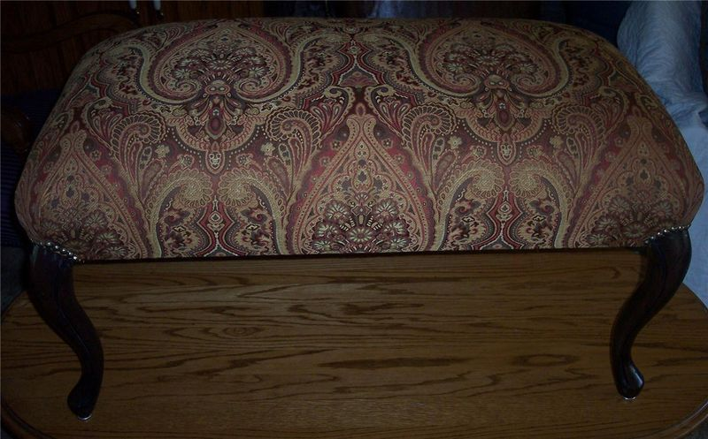 Mahogany French End of Bed Bench Entry Bench brick beige print