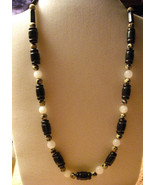 Dalmation Jasper, Snow Quartz and Black Jasper Necklace - $22.00