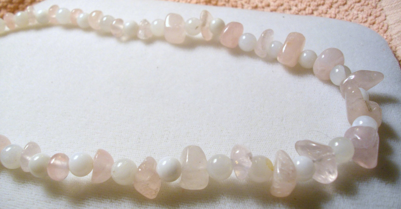 A-102    Rose Quartz and Snow Quartz Necklace