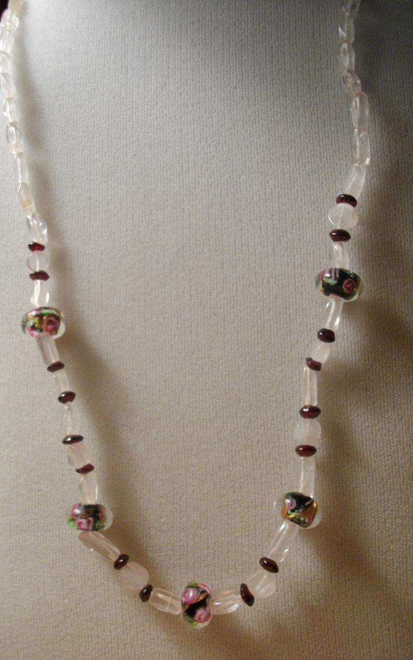 D-11    Rose Quartz, Garnet and Floral Glass Bead Necklace