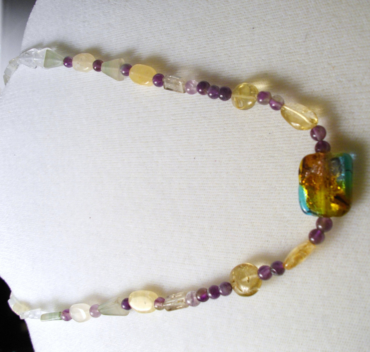 D-9  Crazy Colorful...Lemon quartz, Amethyst, Moonstone