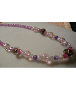 D-10 Lavender and Pink Crackle Beads with Floral Glass Beads - $13.00