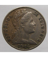 1946 COLOMBIA LIBERTY COIN Vintage 65 Years Old 5 Centavos copper nickel... - $6.99