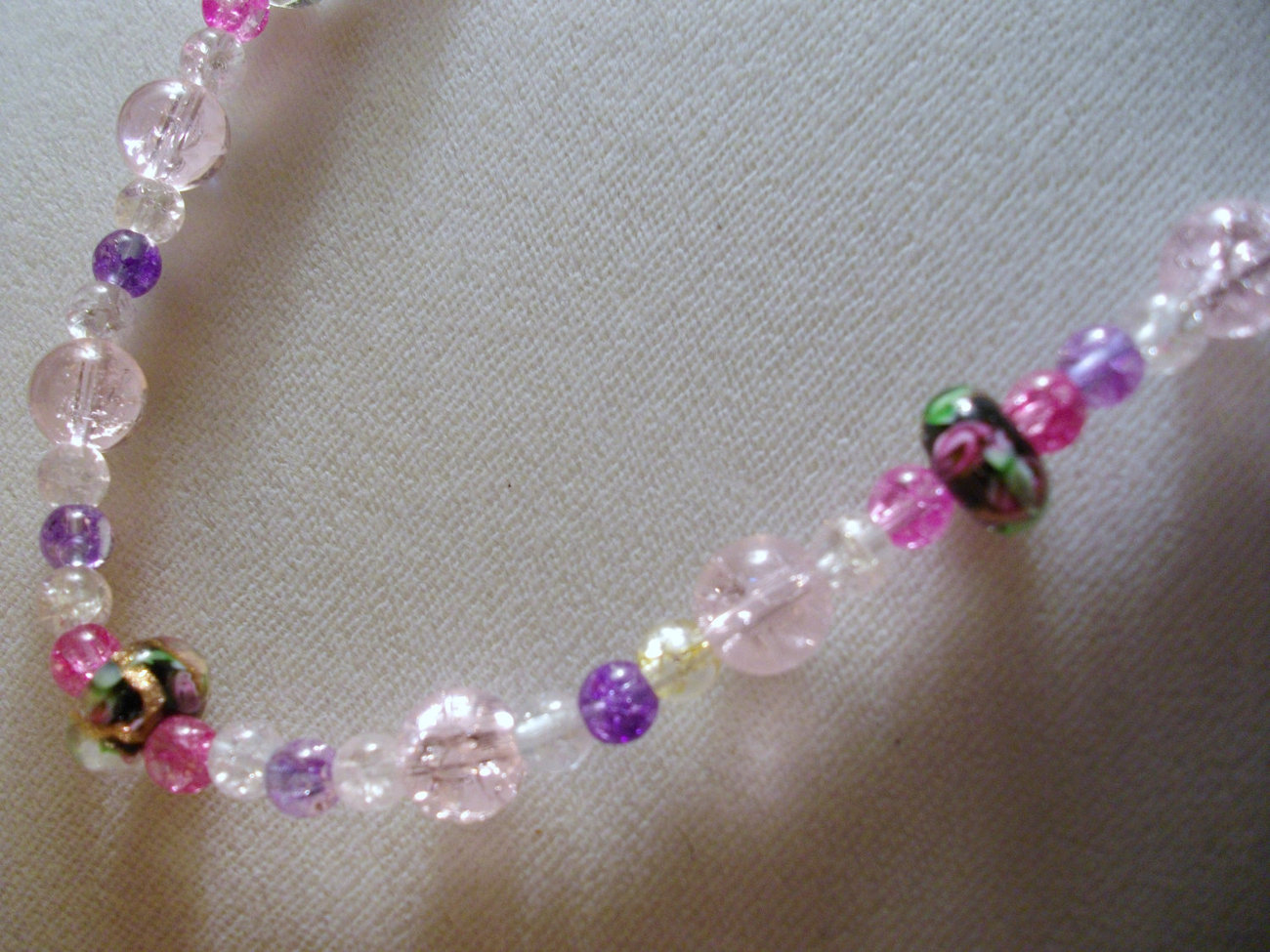 D-10 Lavender and Pink Crackle Beads with Floral Glass Beads