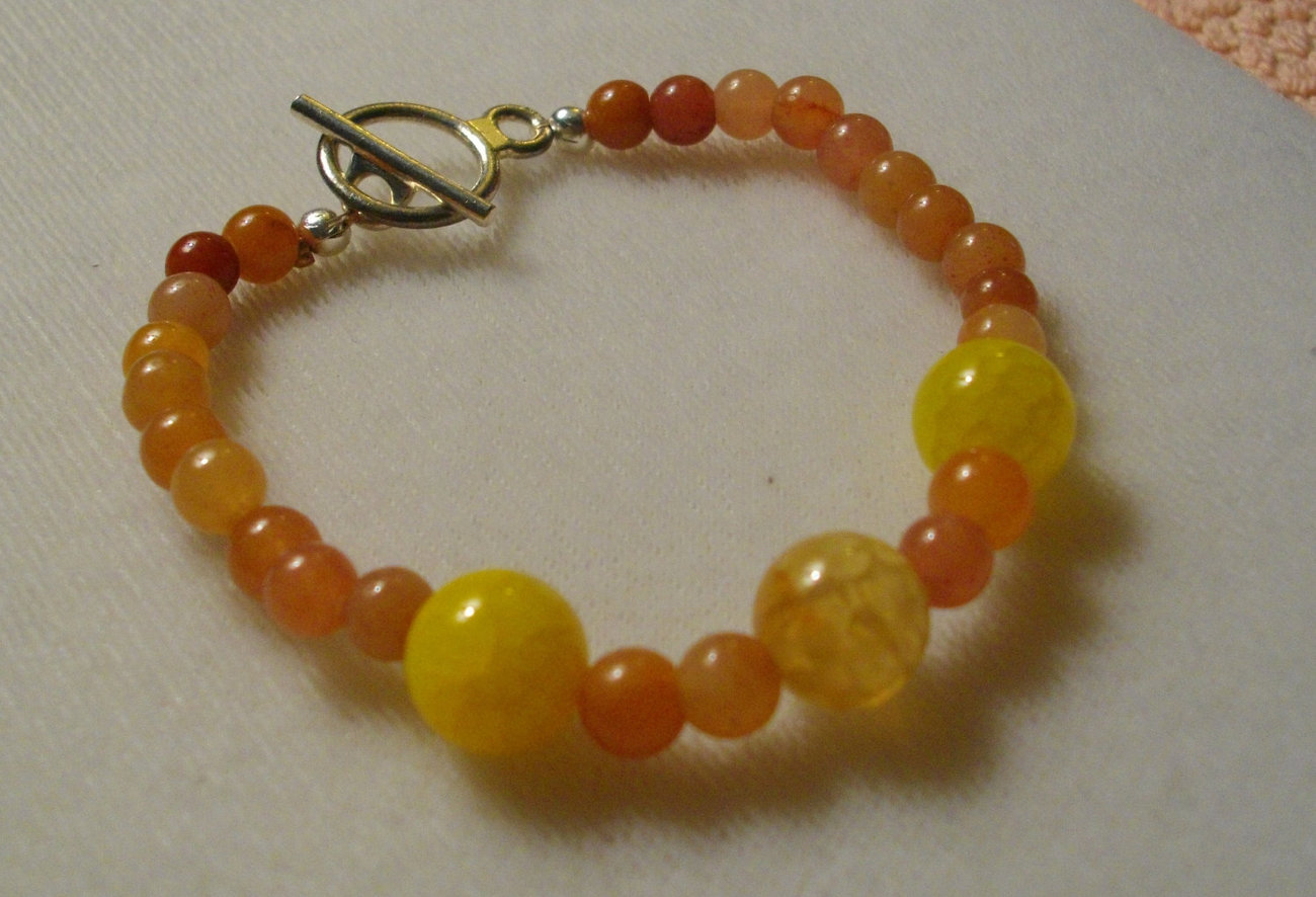 Red Adventurine And Mandarin Dragon Vein Agate Bracelet