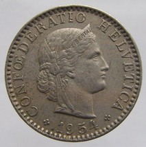 1954 B SWISS COIN Vintage Switzerland Confederation Bern 20 Rappen Coppe... - $5.99