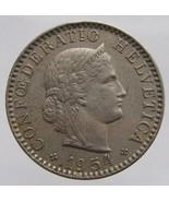 1954 B SWISS COIN Vintage Switzerland Confederation Bern 20 Rappen Coppe... - $110,67 MXN