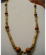 Picture Jasper And Brown Fossil Stone And Goldstone Necklace - $13.00