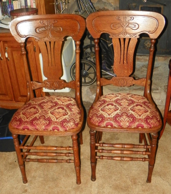 Pair Quartersawn Oak Carved Back Parlor Chairs Sidechairs burgundy gold jacquard