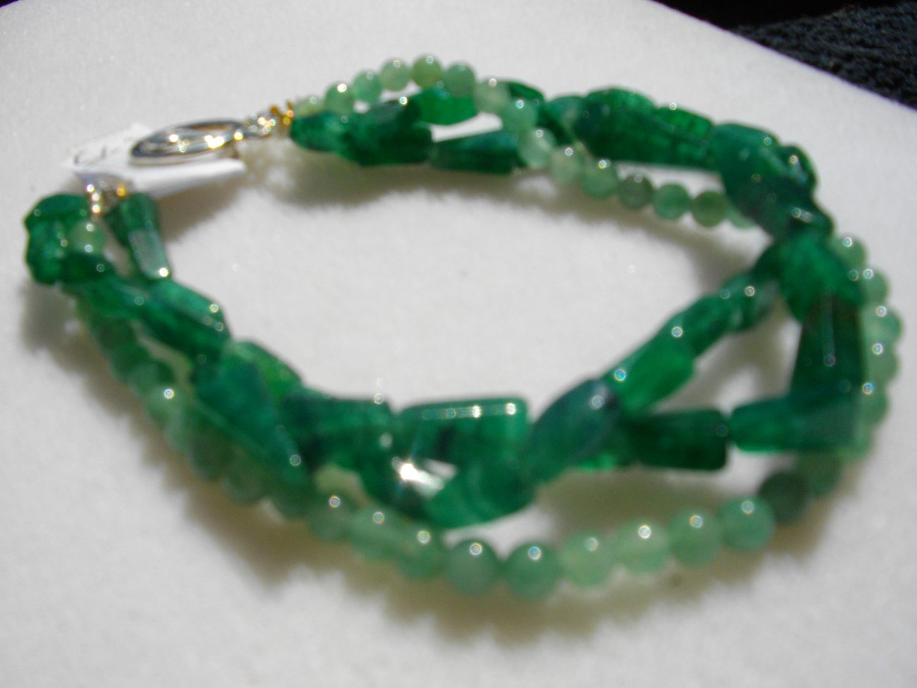 C-15  Green Adventurine Triple Strand Bracelet