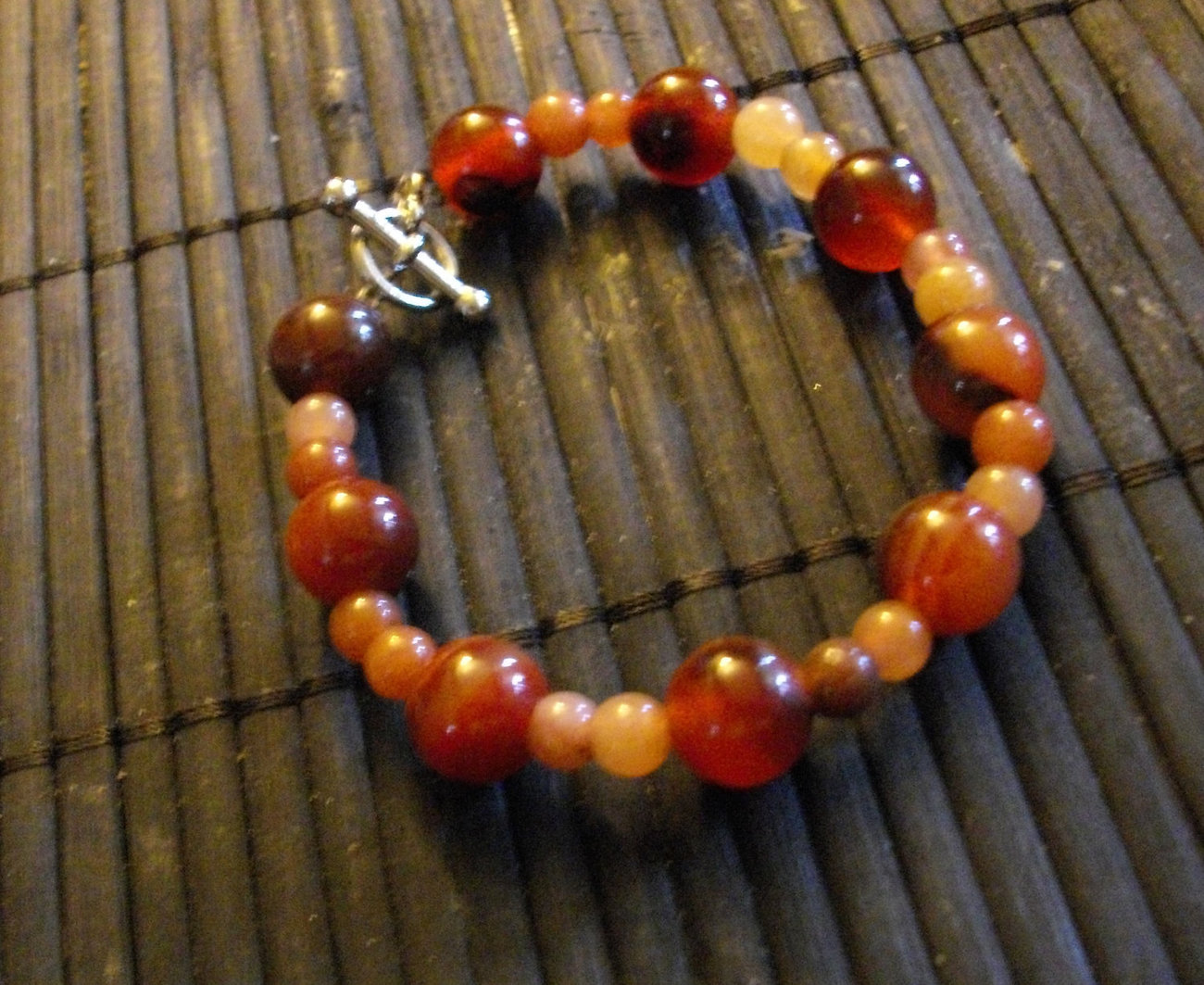 C-21  Red Agate And Red Adventurine Bracelet