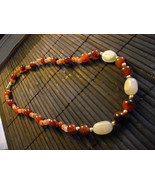 C-22  Red Agate, Red Adventurine And Moonstone Necklace - $20.00