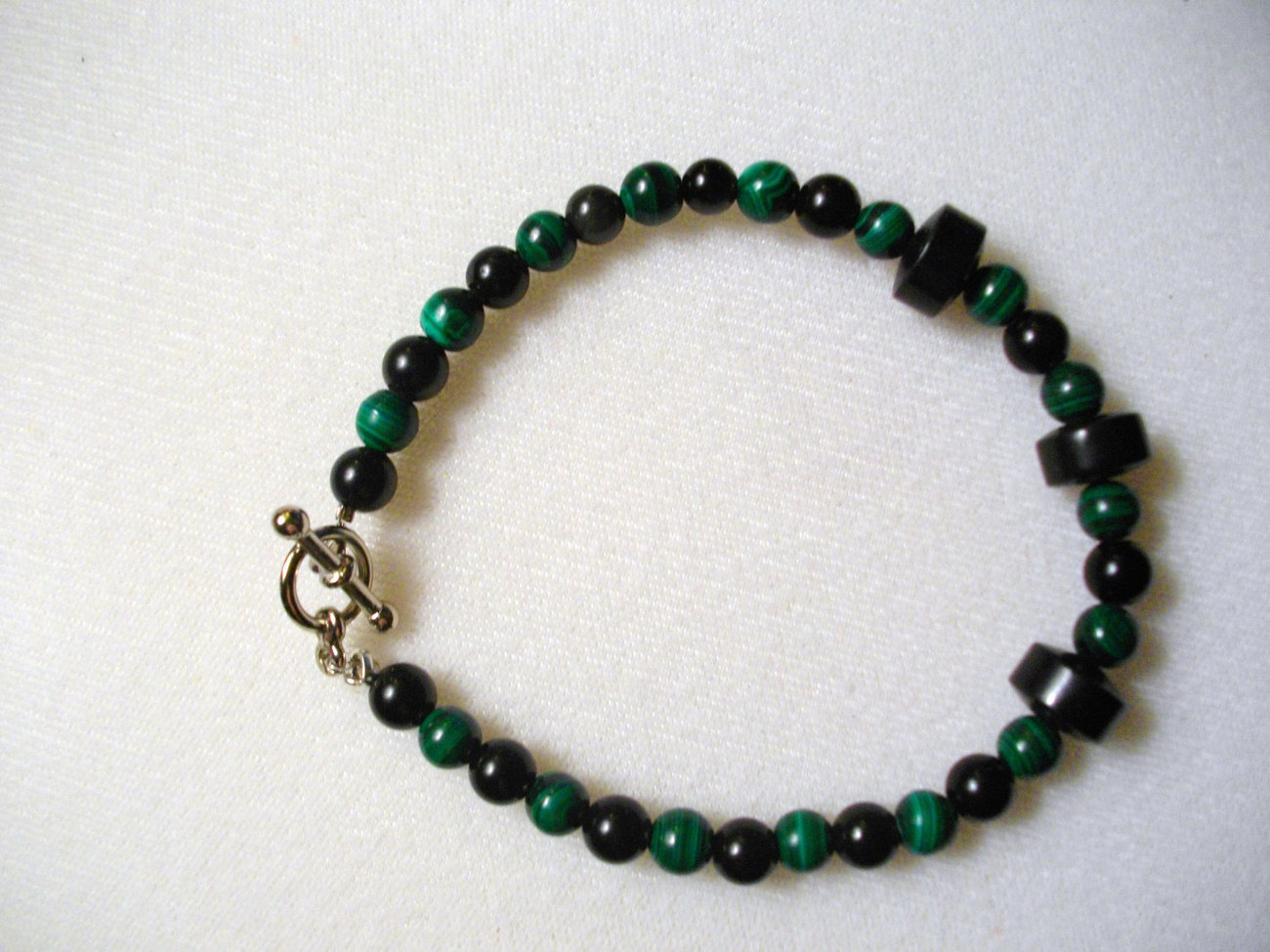C-24  Green Malachite, Black Jade And Black Jasper Necklace
