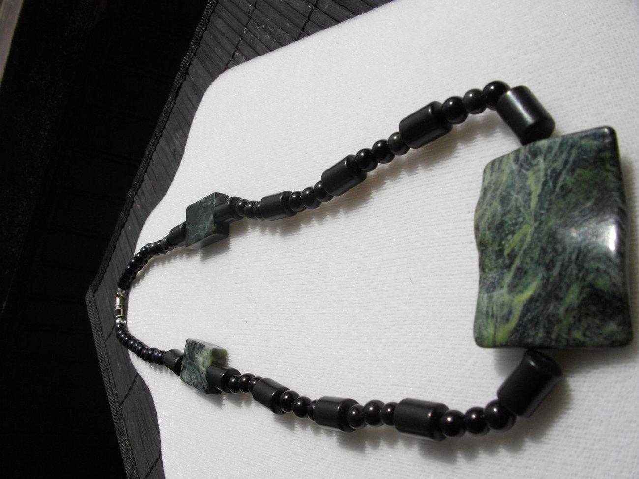 """Forest Delight""  Green Marble, Black Jasper And Black Roun"