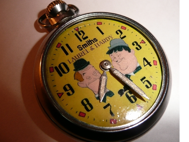 Old Smiths Laurel & Hardy Character dial pocket watch