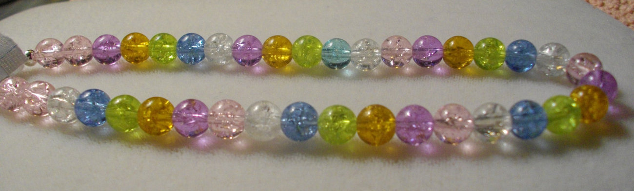 Girls' Multicolor Pastel Color Crackle Glass Bead Necklace