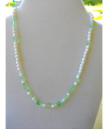 M-2  White Mountain Jade and Seafoam Green Crystal Necklace - $20.00