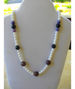 M-3  White Mountain Jade, Plum Jade, and Purple Agate Bead  - $20.00