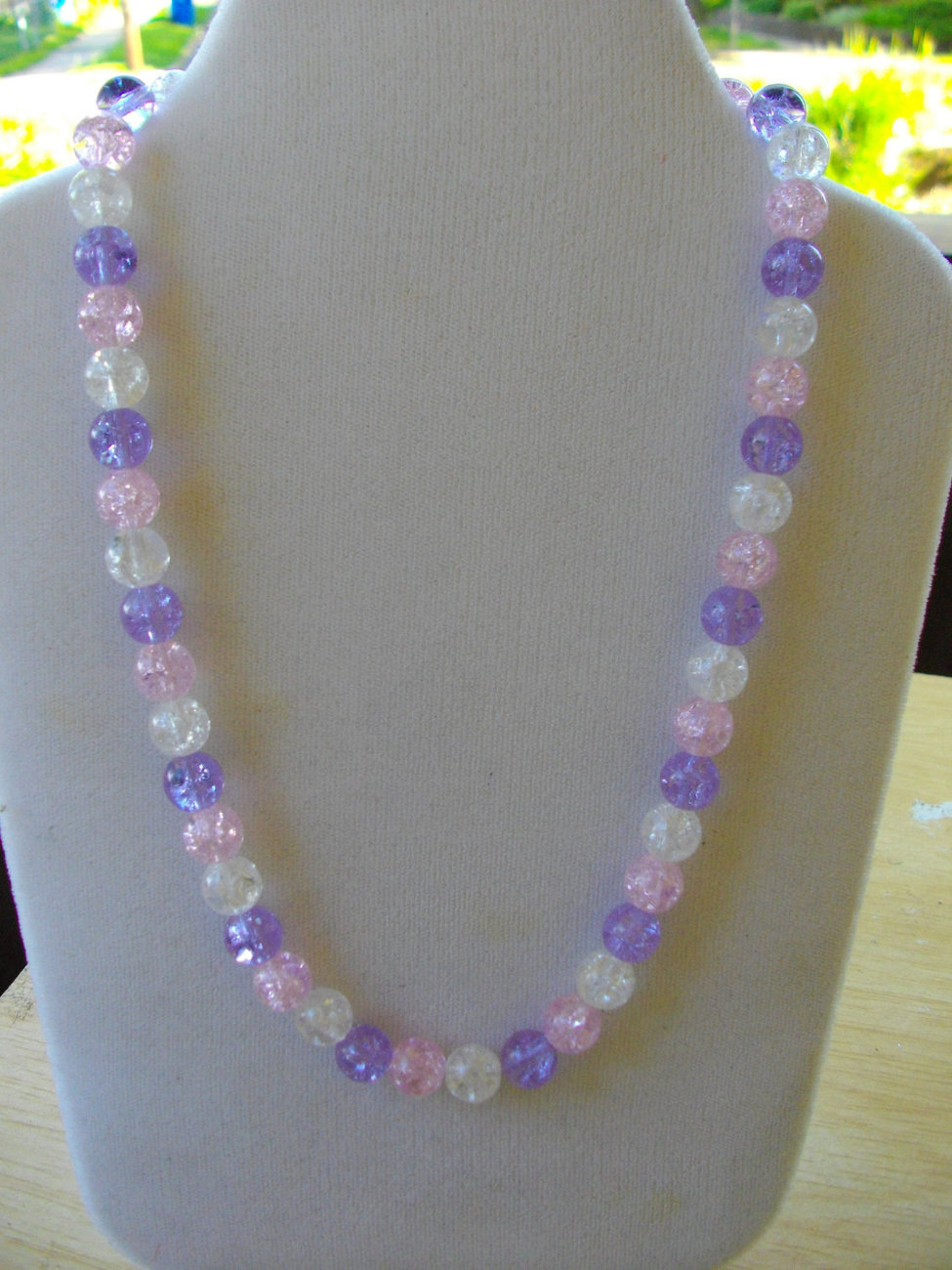 B-61  Pink, Clear and Lavender Crackle Glass Bead Necklace