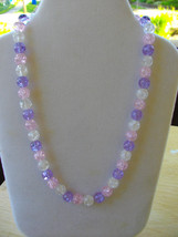 B-61  Pink, Clear and Lavender Crackle Glass Bead Necklace - $15.00
