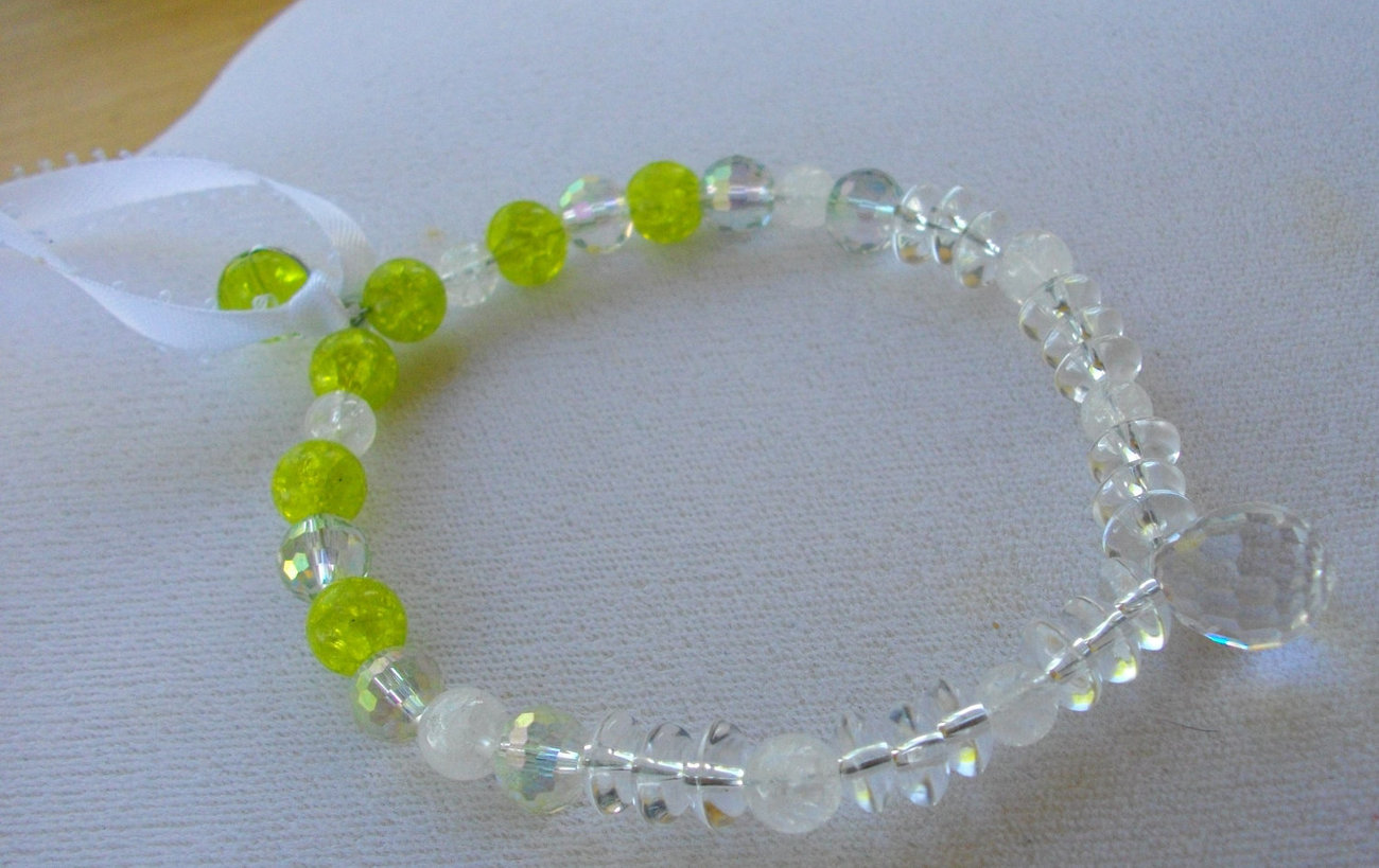 S-1  Suncatcher--Lime Green, AB Crystal and Quartz Beads