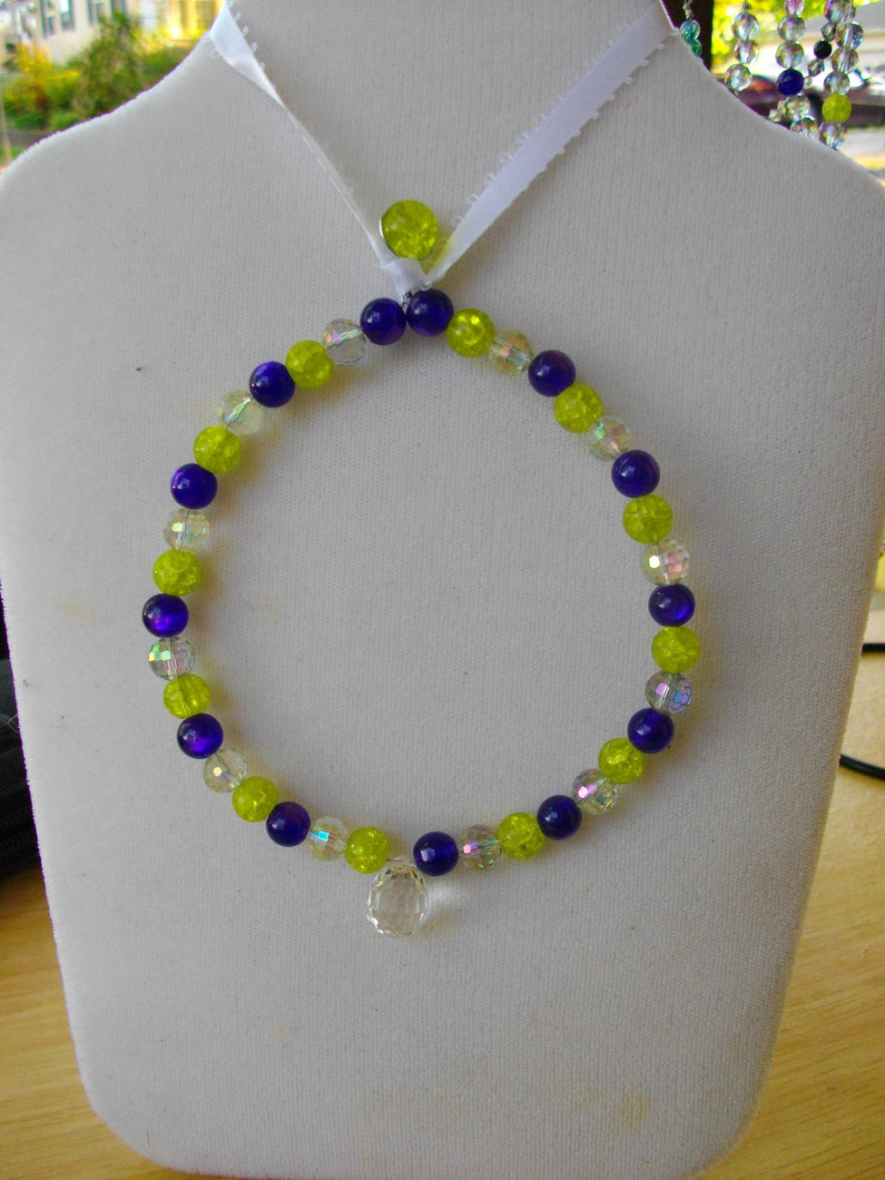 Suncatcher -- Lime  Green Crackle Glass Bead, Purple Glass