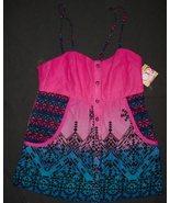 OP Pink/Blue Tie Dye Style Button Down Spaghetti Straps  Tank Top SZ. M ... - $6.99