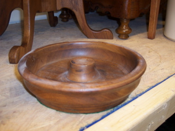 Vintage Solid Walnut 9 inch diameter Bowl Candy Bowl